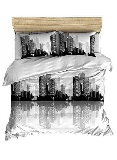 Maki City Çift Kişilik Nevresim Ve 2 Yastık Kılıfı Seti Renkli